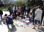 "Organized a street action: everyone drawing together on the topic of ""How will a better world look like?"""""