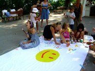 One of my best friends, Chaya, laughing out loud during a street project we organized in Varna