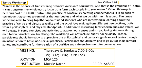 Tantra Workshop in J-term! @Middlebury College