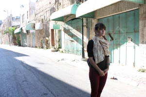 Where to now? Maggie Nazer at the closed Shuhada street in Hebron, west Bank